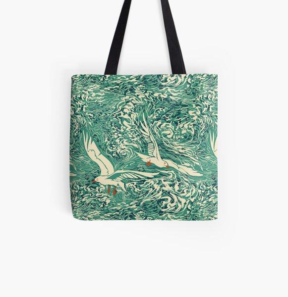 Teal Sea Gulls All Over Print Tote Bag