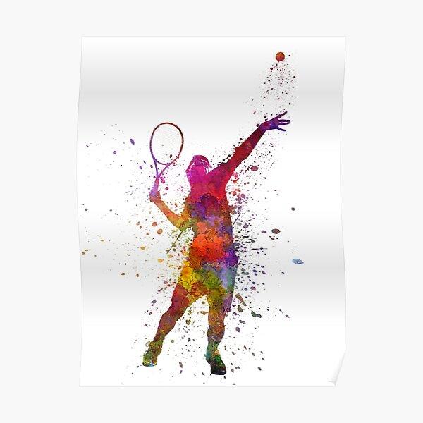 joueur de tennis au service servant silhouette 01 Poster