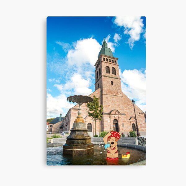 Funny Dog Painting in Photograph - Dog Taking a Bubble Bath in a Public Fountain Canvas Print