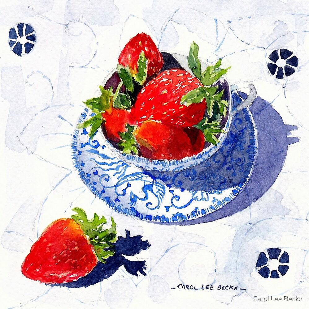 Strawberries in a Porcelain teacup by Carol Lee Beckx