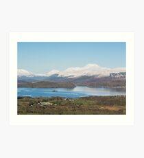 Ben Lomond above Loch Lomond in winter Art Print
