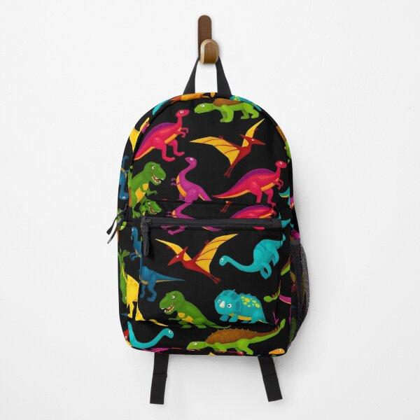 Fun Dinosaur Pattern (Dark Background) Backpack