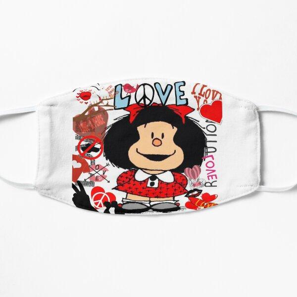 Love,amor y mafalda rodeada de corazones Mascarilla plana