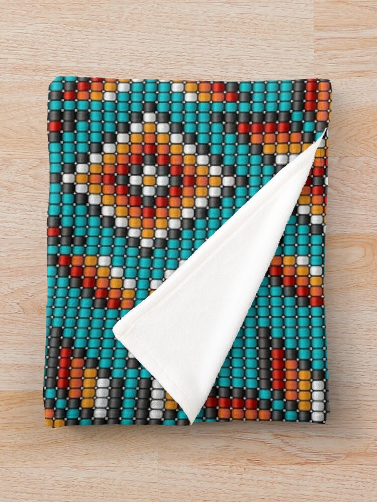 Alternate view of Aztec traditional beaded kilim on teal Throw Blanket