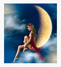 beautiful woman night fairy on moon Photographic Print