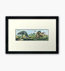 Tyrannosaurus Rex & Triceratops Frieze Framed Print