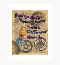 Alice In Wonderland Travelling in Time Art Print
