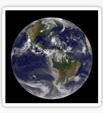 August 24, 2011 - Satellite view of the Full Earth with Hurricane Irene visible over the Bahamas. Sticker