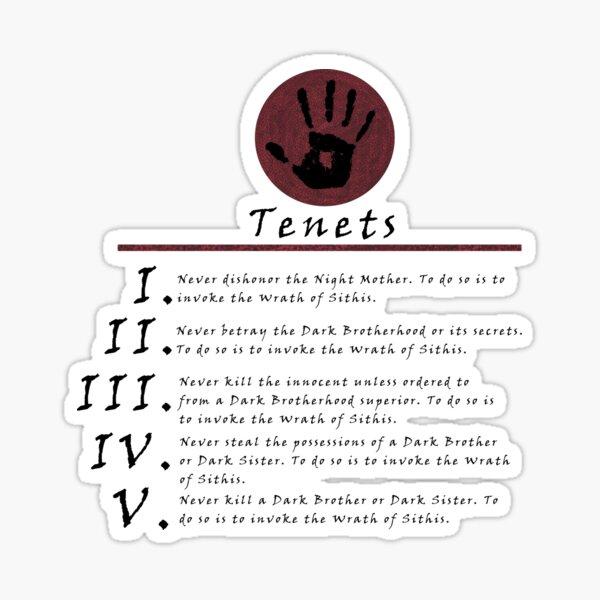 Dark Brotherhood Tenents Sticker