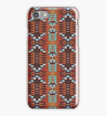 Turquoise Orange Red Brown Cabin Mosaic Pattern iPhone Case/Skin