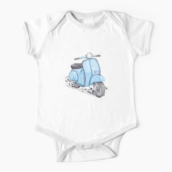 Blue Vespa Classic Vintage style Short Sleeve Baby One-Piece