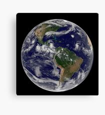 Full Earth showing various tropical storm systems. Canvas Print