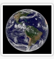 Full Earth showing various tropical storm systems. Sticker