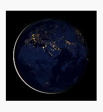 Full Earth showing city lights of Africa, Europe, and the Middle East. Photographic Print