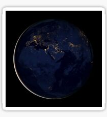 Full Earth showing city lights of Africa, Europe, and the Middle East. Sticker