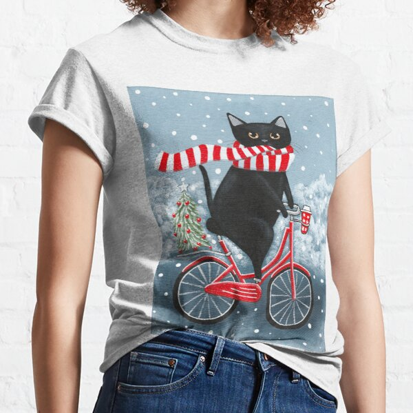 Black Cat Winter Bicycle Ride Classic T-Shirt