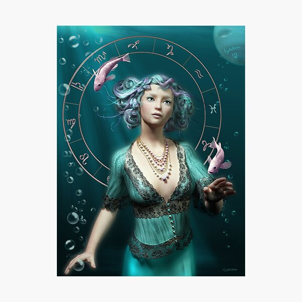 Pisces Zodiac Fantasy Circle Photographic Print