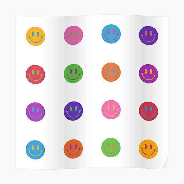 Colorful Smiley Faces Poster