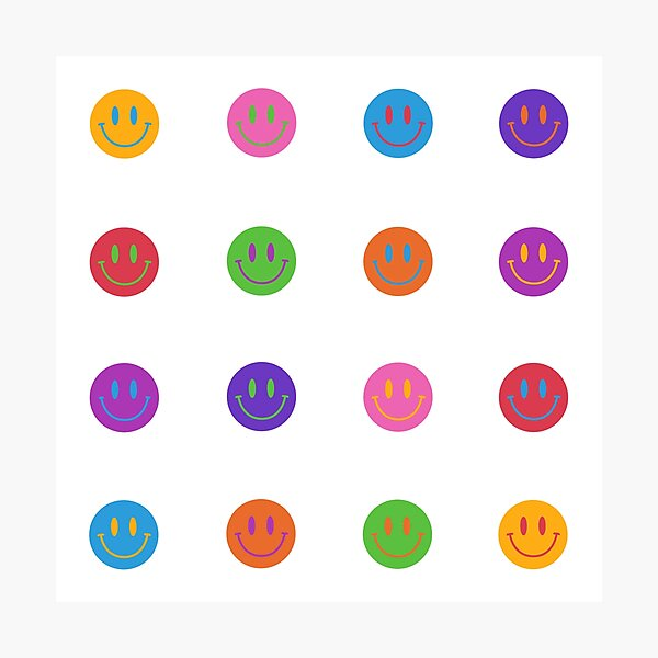 Colorful Smiley Faces Photographic Print
