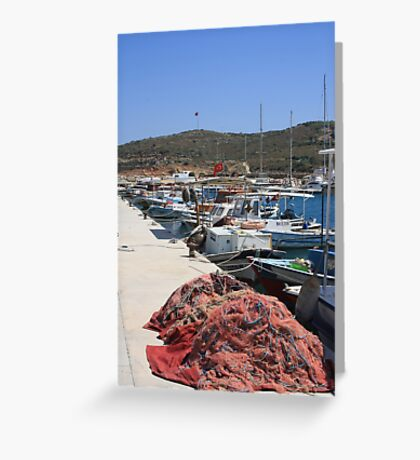 Red Fishing Net and Fishing Boats in Datca Greeting Card