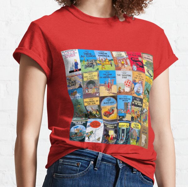 Collage of Tintin book covers Classic T-Shirt