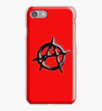 ANARCHY, ANARCHIST, Politics, Revolution, Protest, Disorder, Unrest, Symbol on red in black iPhone Case/Skin