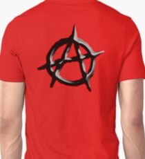 ANARCHY, ANARCHIST, Politics, Revolution, Protest, Disorder, Unrest, Symbol on red in black T-Shirt