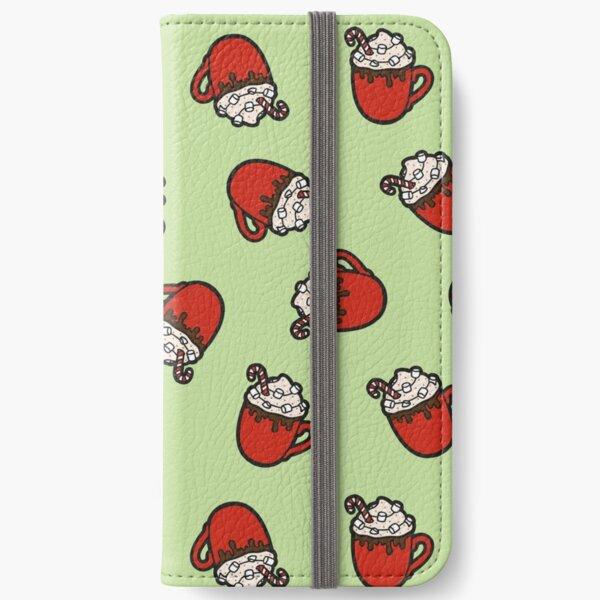 Festive Hot Cocoa Pattern in Mint Green iPhone Wallet