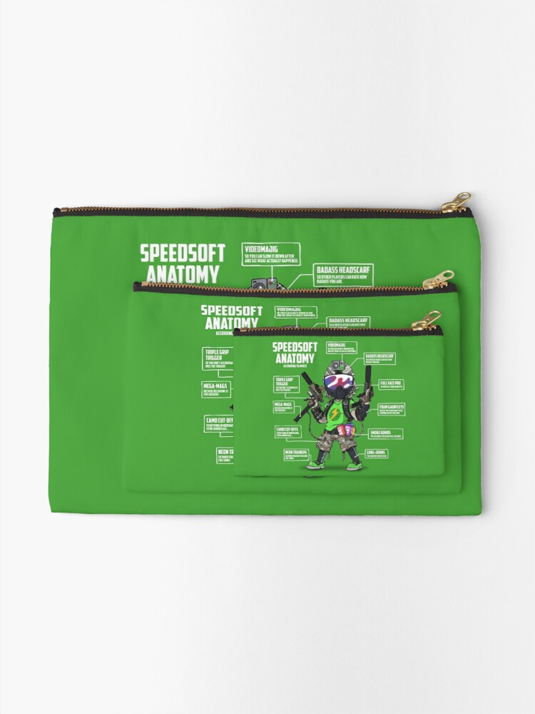 Alternate view of SPEEDSOFT ANATOMY (White writing) Zipper Pouch
