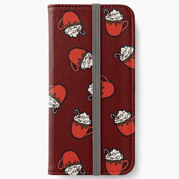 Festive Hot Cocoa Pattern in Dark Red iPhone Wallet