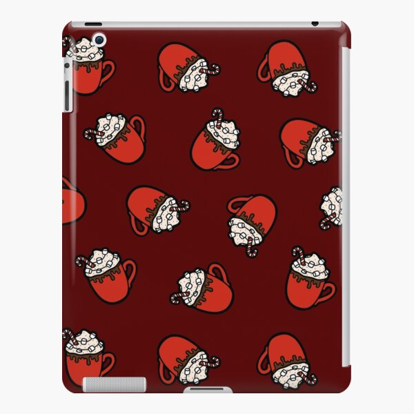 Festive Hot Cocoa Pattern in Dark Red iPad Snap Case
