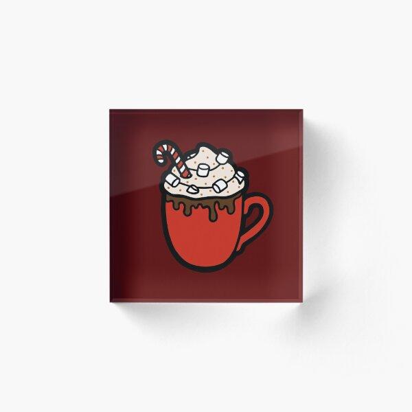 Festive Hot Cocoa Pattern in Dark Red Acrylic Block