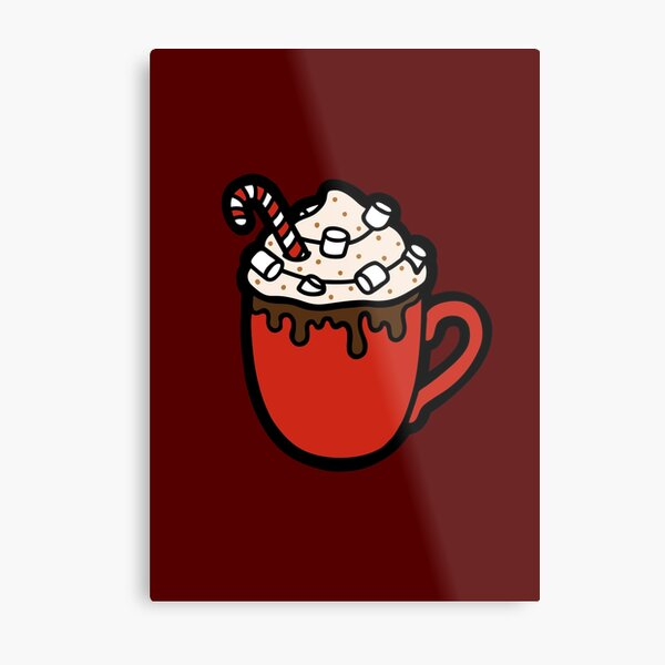 Festive Hot Cocoa Pattern in Dark Red Metal Print