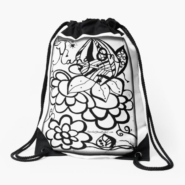 Rachel Doodle Art - Hang On Drawstring Bag