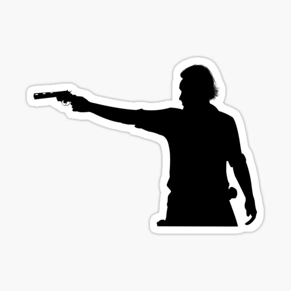 Rick Grimes Aiming Revolver Sticker