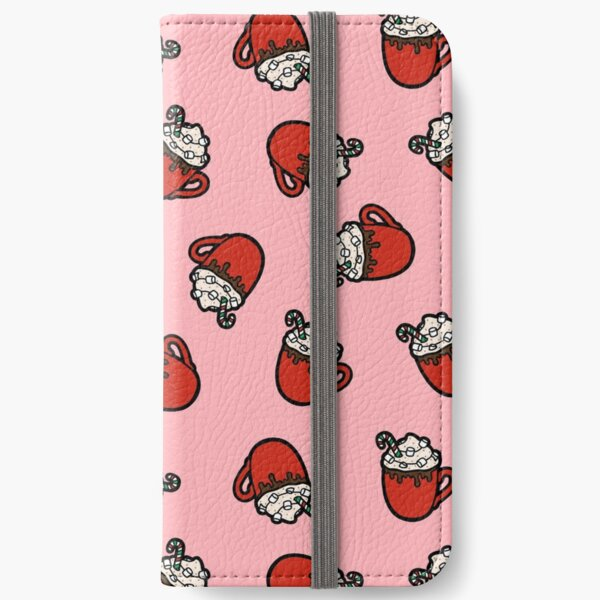 Festive Hot Cocoa Pattern in Pink iPhone Wallet
