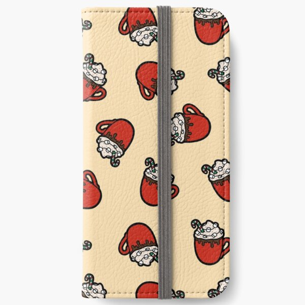 Festive Hot Cocoa Pattern in Cream iPhone Wallet