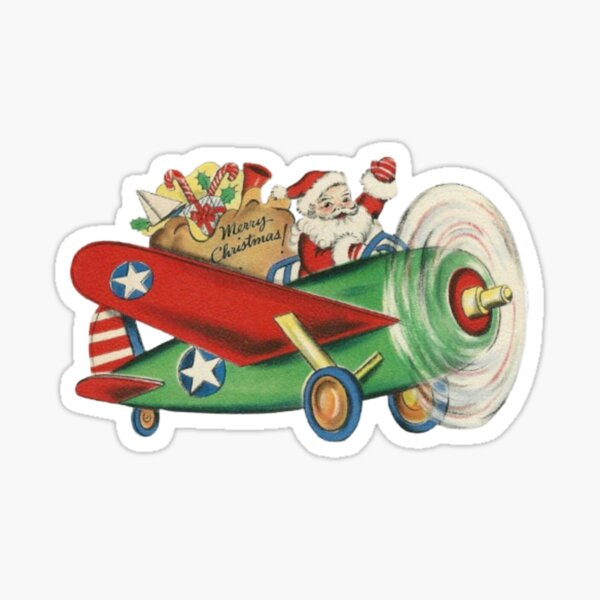 Santa Claus Pilot  vintage Christmas  Sticker