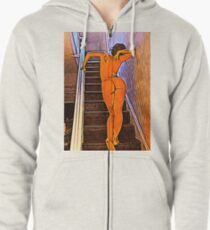 'Expectation' - Beautiful Nude Woman Zipped Hoodie