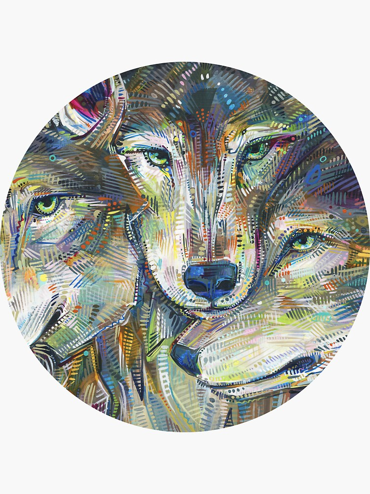 Gray Wolves Painting - 2012 by gwennpaints