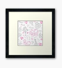 vector background with different cute animals Framed Print