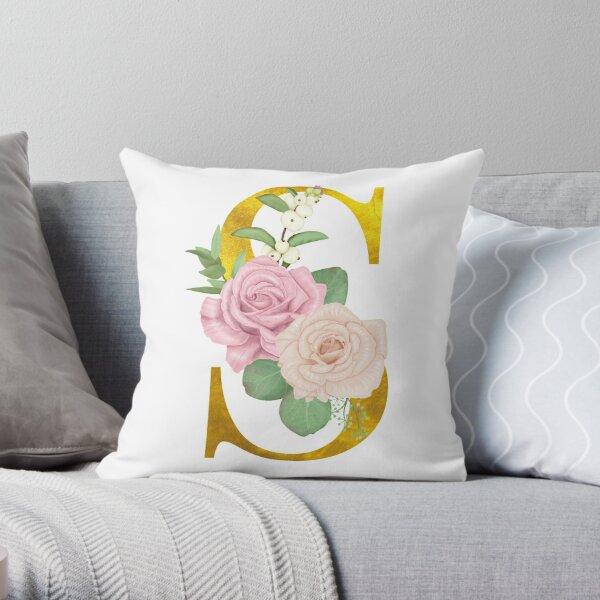 Gold & Pink Floral Monogram S Throw Pillow