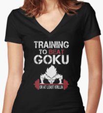 Goku Gym Women's Fitted V-Neck T-Shirt
