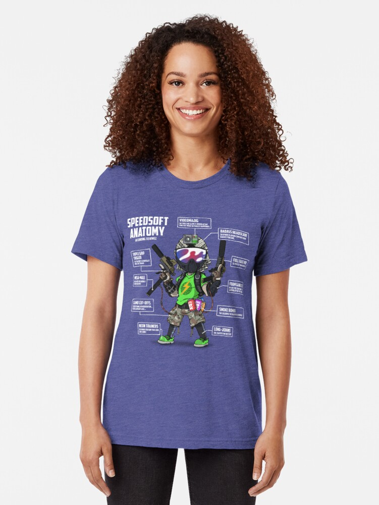 Alternate view of SPEEDSOFT ANATOMY (White writing) Tri-blend T-Shirt