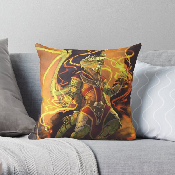 Argonian Flames Throw Pillow