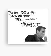 Michael Scott's Inspirational Quote (White) Metal Print