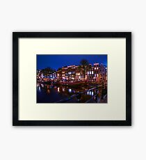 Night Lights on the Amsterdam Canals. Holland Framed Print