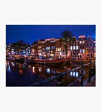 Night Lights on the Amsterdam Canals. Holland Photographic Print