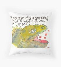 Sneezing Iguana Throw Pillow