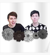 Dan and Phil- Black and White Flowers Poster